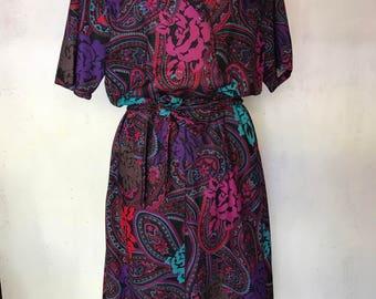 1960's Jewel colors belted Vintage work dress