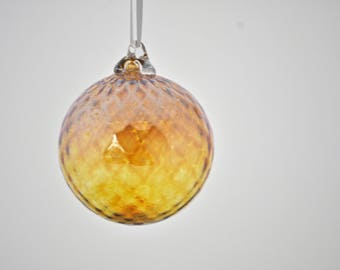 Hand Blown Glass Ornament: Citrine Glass Christmas Ornament (Jewel Collection)