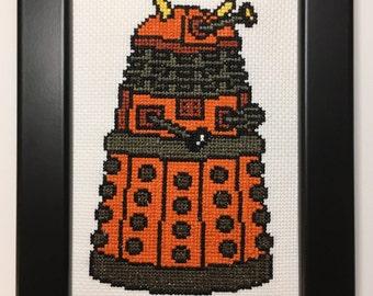 BBC Doctor Who Handmade Cross Stitch Dalek (Orange Scientist) - Framed