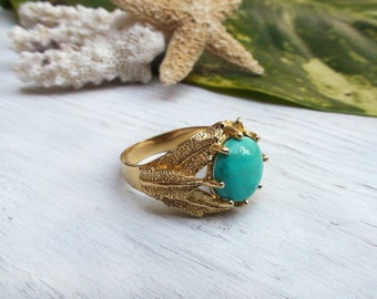 Turquoise Leaves Ring Natural Stone Boho Chic Jewelry Gift for Her