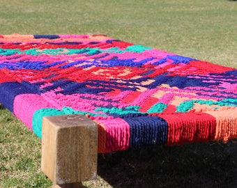 Indian Rope Day Bed - Multicolor - Vintage Furniture Charpoy - Handcrafted Wooden Frame