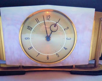 Vintage Marble and brass art deco mantle clock with bakelite back