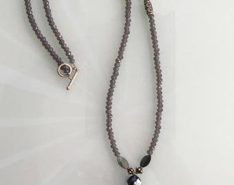 Grey Hamsa Necklace