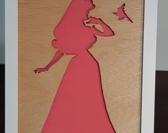 Sleeping Beauty - Framed Princess Silhouette | Wall Hanging | Disney | Shelf Art | Room Decor | Display Art | Little Girl's Gift