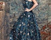 Gothic wedding dress - Steampunk wedding - Taffeta long skirt and corset - Black and gold wedding dress - Elegant prom dress