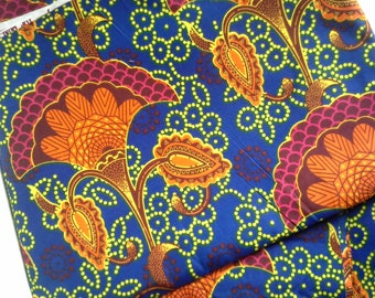Fabric - Wax / Ankara - orange and purple - sold by the metre