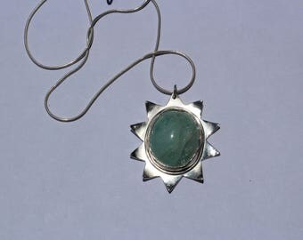 Handmade sun-shaped silver/aquamarine necklace with silver chain