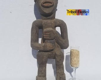 TRIBAL EXOTICS : RARE Authentic fine tribal African Art - Mambila Mambilla Ancestral Wood Figure Sculpture Statue Mask