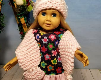 18 Inch Doll Clothes Accessories-Pink Shawl, Hat Headband