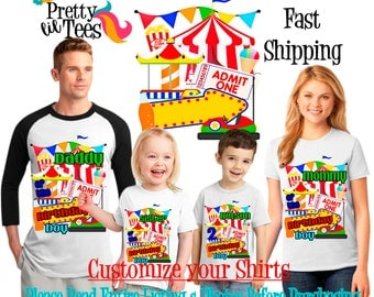 CARNIVAL Birthday BOY Theme Family WHITE Shirts For the Entire Family Mom Dad Brother and More T-shirts Long/ Short sleeve Raglan Circus