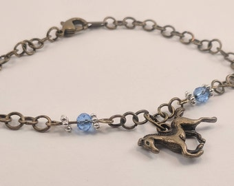 Handmade Bronze Chain Bracelet with Running Horse and Blue Accents