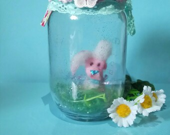 Mason Jar Dry Glitter Snow Globe Pink Rabbit