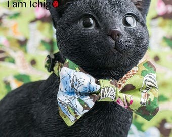 Safari print cat bowtie / cat collar ( Green)