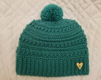 Crocheted Women's Beanie, Crocheted Women's Hat, Hat with Pom Pom, Gifts for Her, Women's Accessories, Winter Hat, Pom Pom Hat