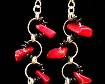 Onyx and Red Coral Wave Earrings