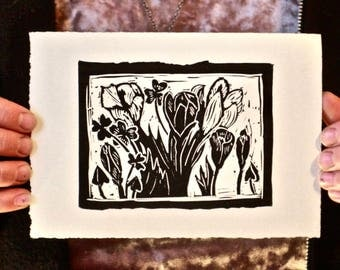 First Day of Spring Happy Easter Floral Handmade Linocut Greeting Card