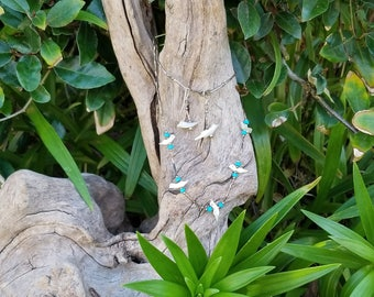 Mother of Pearl & Turquoise Necklace and Earring set