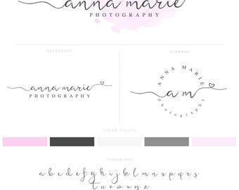 Premade Logo Design, Premade Logo & Watermark, Logo Branding Package, Pink, Watercolour Logo, Calligraphy Logo, Brand Kit 008