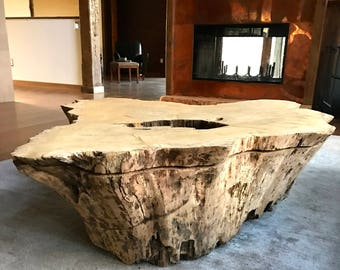 Live Edge Natural Wood Rustic Coffee Table