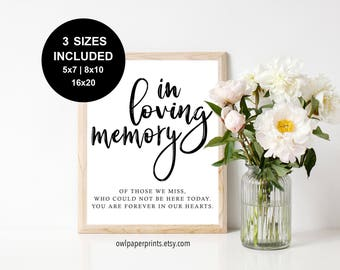 In Loving Memory Sign - Printable PDF, Memorial Sign, Table Sign In Loving Memory, Wedding Sign