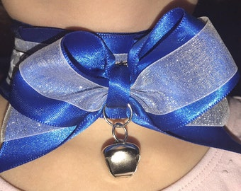 Blue and silver Glitter Kitten Play Collar