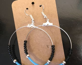 Turquoise and black bead hoop earrings