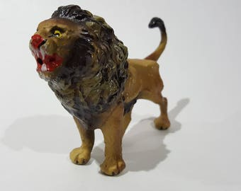 Antique Pre-war Japan Composition Painted Lion Figurine - Elastolin Lineol - Large