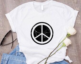 Marble Peace Sign Shirt/Peace T Shirt 60s Shirt Vintage Shirt/Tumblr Aesthetic Clothing/70s Shirts Retro Shirt/Tumblr Shirts Aesthetic Shirt