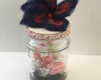 Unique Blue/red flower Storage Jar with sweets (type of sweets optional, please message)