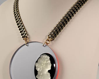 Cameo on perspex necklace