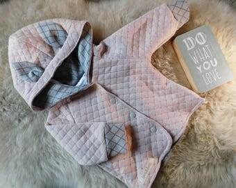 Cute pink/Grey baby girl jacket//Size 62//handmade//Lucaundlotti