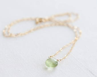 Prehnite necklace, Gold or silver necklace with polished prehnite gemstone briolette, Prehnite jewelry, Tiny lime green gemstone necklace
