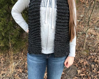 dark gray hand knitted scarf