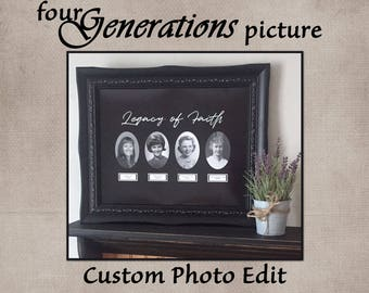 Four Generations Picture, Family History Picture, Mothers Picture, Grandmother Picture, My Heritage, Legacy of Faith, Custom Photo Edit
