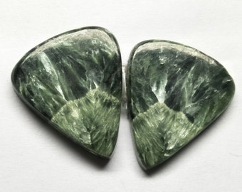 Natural Seraphinite Pear Pair Cabochon, Seraphinite Stone, Jewelry Cabochon, Smooth Pair Cabochon, Loose Gemstone, AAA, 27x23 MM, 43 CTS