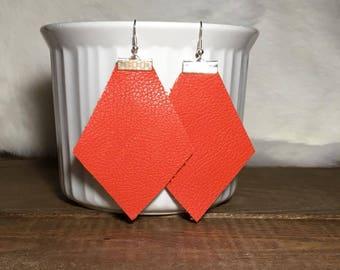 orange leather earrings
