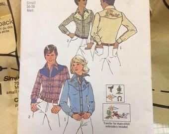 Simplicity 7051 Vintage Pattern  Misses' or Men's Shirt