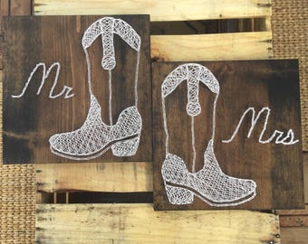 Rustic String Art Cowboy Boots, Mr and Mrs Sign, Mr and Mrs Decor, Wedding Gift For Couple, Bridal Shower Gift, Newlywed Gift