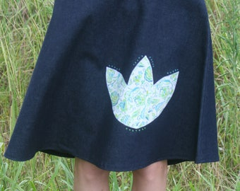 Lotus denim A-Line skirt with Applique and Embroidery Detail Size 12