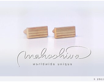 wooden cuff links wood alder maple handmade unique exclusive limited jewelry - mahoshiva k 2017-03
