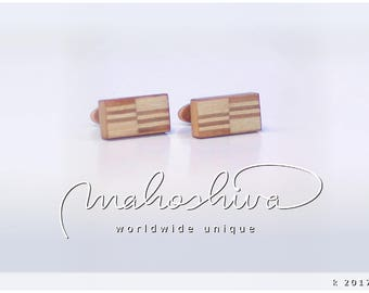 wooden cuff links wood cherry maple handmade unique exclusive limited jewelry - mahoshiva k 2017-30