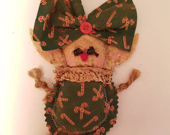 """Grungy Elf """"Candy Cane"""" Rag Doll made with love"""