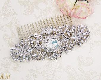 Bridal Hair Comb, Crystal Hair Comb, Silver Hair Comb, Rhinestone Hair Comb, Wedding Hair Comb, Hair Accessories, Bridal Headpiece