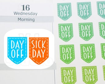 63 day off stickers,sick day stickers,planner stickers, ------M174P