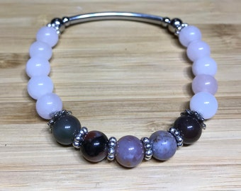 Pink quartz and jasper bracelet, pink stone bracelet, natural stone bracelet, boho bracelet, bohemian bracelet, stretch bracelet