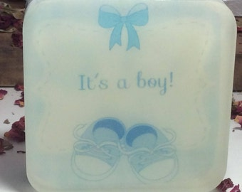 Handmade organic soap, It Is a Boy image gift soap,baby shower gift idea