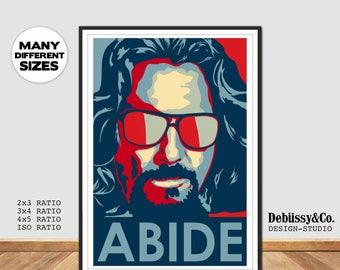 The Big Lebowski Poster, Jeff Bridges Abide Movie poster, John Goodman Big Lebowski