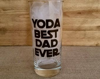 Yoda Best Dad Ever Glass, Cocktail Glass, Whiskey Glass, Custom Glasses