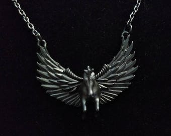 Black Flying Pegasus Necklace