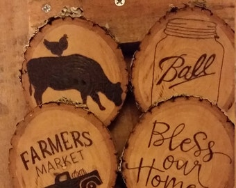 Rustic Farm Wood Burned Coaster Set of 4